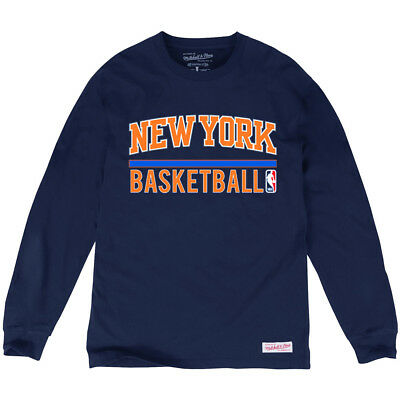 New York Knicks Mitchell & Ness NBA Stacked Long Sleeve T-Shirt - Navy