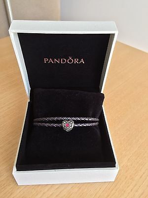 NEW Pandora July Signature Heart Birthstone Charm with Purple Woven Leather Brac