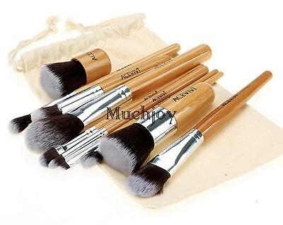 Professionelle 10tlg Kosmetik Pinsel Makeup Brush Echthaar Schminkpinsel Set NEU