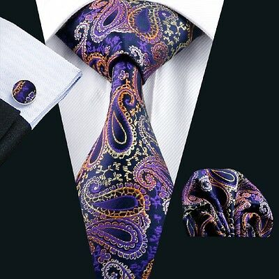New Purple Paisley Mens Silk Tie Set with Matching Hankerchief and Cuff Links