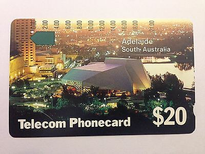 Telecom Used One Hole $20 Adelaide South Australia Phonecard