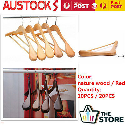 10/20 Wooden Clothes Hangers Coat Suit Timber Non Slip Trouser Tube Display Rack
