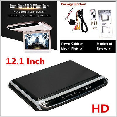 "12""In Car Roof Overhead Flip Down LED HD Monitor HDMI/SD/AV MP4 MP5 Video Player"