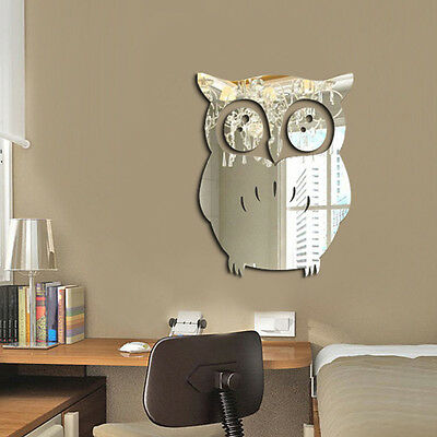 3D Owl Art Mirror Decal Vinyl Mural Wall Stickers Home Decor Removable DIY