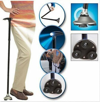 Multifunctional Trusty Cane Walking Stick for Old People With LED Light