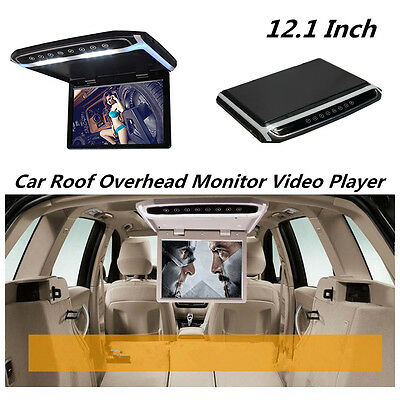 "In Car Roof Overhead Flip Down 12.1"" HD Monitor Screen MP3/MP4/MP5 Video Player"