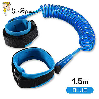 Blue 1.5M Kids Baby Keeper Anti Lost Strap Wrist Link Safety Traction Belts