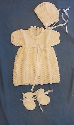 New Hand Knitted Baby Dress Bonnet Bootees