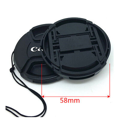 3 Pcs 58 mm Snap On Front Lens Cap Cover Center Pinch with String for Canon EOS