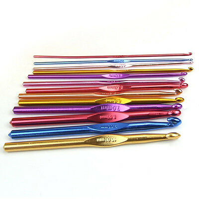 Knit Multi Coloured Aluminium Crochet Needles Hooks 2mm-10mm Knitting Stitches