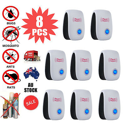 8PCS Electronic Ultrasonic Pest Reject Mosquito Cockroach Mouse Killer Repeller