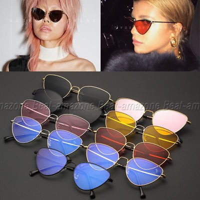 Cat Eye Vintage Retro Cyber Hipster Hippie Women Sunglasses Oversized Fashion UK