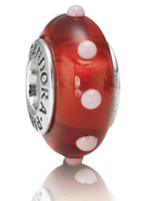 "Authentic PANDORA - Retired MURANO Glass Bead ""Seeing Spots"" Red & Pink 790633"