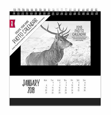 "Shot2go 2018 Desktop Photo Calendar Black - holds 12 4x6"" photos (8574)"