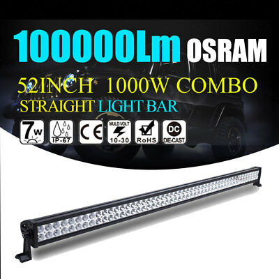 1000W 52INCH LED OSRAM LIGHT BAR SPOT FLOOD COMBO OFFROAD SUV 4WD Jeep Ford 54""