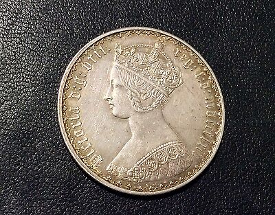 """Great Britain 1864 Florin silver coin! """"Gothic"""""""