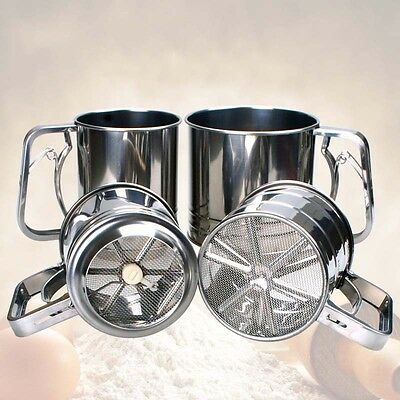 1*Stainless Steel Mechanical Baking Icing Flour Sugar Sifter Shaker Sieve Tool