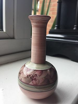 Small Hand Painted Jersey Pottery Art Studio Pottery Stem Vase Flower Pink Green