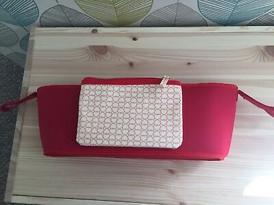 Pink Lining Buggy Stroller Strap Organiser Summer Red Hearts Hardly Used