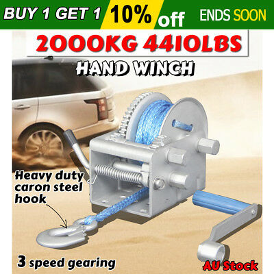 Hand Winch 4410LBS 2000KG 3 Speed Synthetic Dyneema Rope Boat Car Trailer 10M OZ