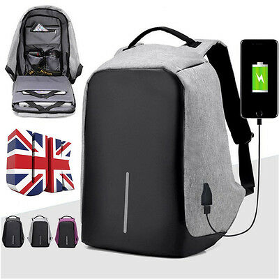2017 Anti-Theft Backpack Laptop USB Port Charger Travel Oxford School Bags UK