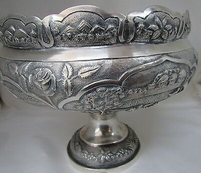 Hand Asian Sterling Silver Comport Harvest Bowl Zykmund 1944 Scenes Fishing Farm