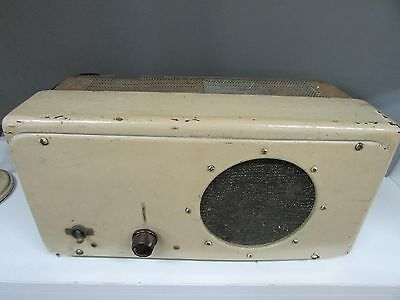 Vintage Valve Amp Amplifier And Ellipsoid Microphone Broadcast Radio Timber Case