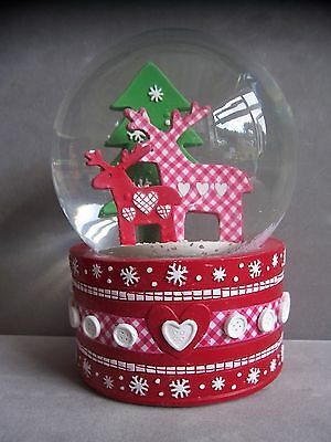 Musical Gingham Reindeer Snow Globe 15.5cm Tall Snow Dome by Gisela Graham Boxed