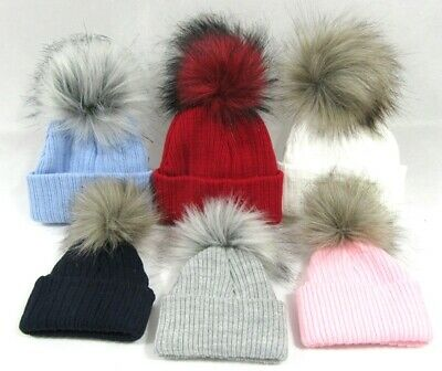 Baby Babies Boys Girls Fluffy Fur Pom Pom Raccoon Knitted Winter Bobble Hat NB