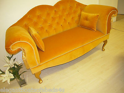 Antique Gold Window Seat Velvet Small Chaise Buttoned Sofa 148Cm Traditional Bn
