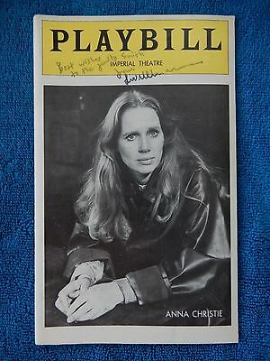 Anna Christie - Imperial Theatre Playbill w/Autograph (Ullmann) - April 1977