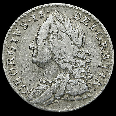 1758 George II Early Milled Silver Sixpence, AVF