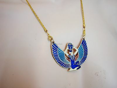 Marvellous Egyptian Hand Made Brass Enamelled Winged Isis Necklace