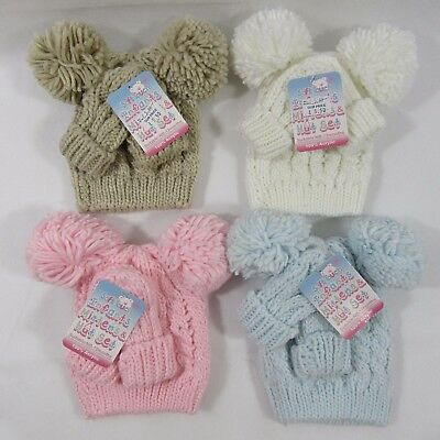 Baby Babies Boys Girls Cable Knit Knitted Pom Pom Gloves Bobble Hat Mitten Set