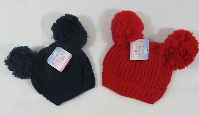 Baby Babies Infant Navy Red Knit Knitted Winter Bobble Hat Double Two Pom Pom NB