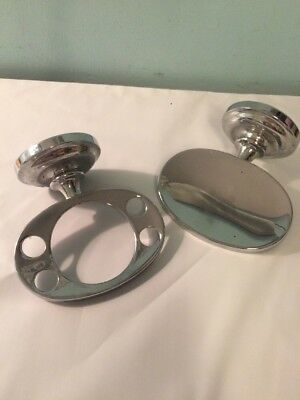 Vintage Chrome Bathroom Wall Fixtures Oval Toothbrush Holder + Soap