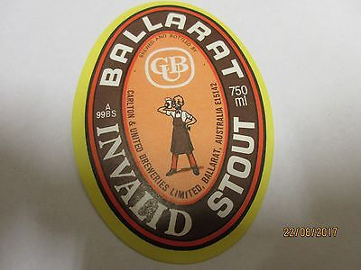 Ballarat Bitter Beer Bottle Labels Vintage Bertie Invalid Stout Carlton United