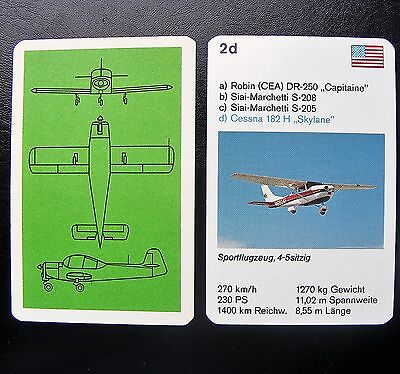 1 Einzelkarte Quartett Flugzeug Aircraft Playing Card Cessna 182 H Skylane