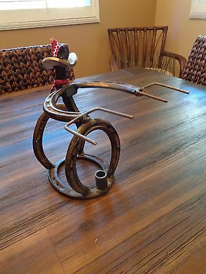 St. Croix Forge Shooting Cowboy Candle Holder HORSE SHOES, WESTERN TABLE