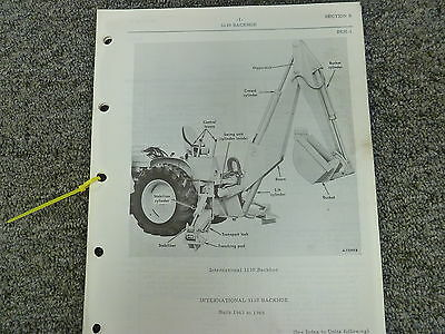 International Harvester IH 3130 Backhoe Built 1963-1965 Parts Catalog Manual