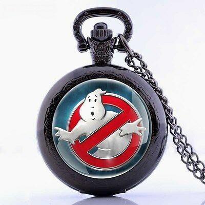 Ghost Busters Mini Black Pocket Watch Pendant Necklace - Great Xmas Gift Idea