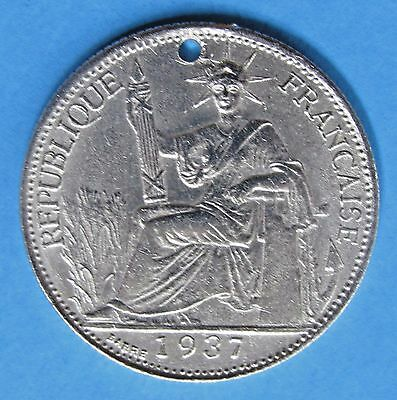 French Indo-china 20 Cents, 1937 - 68% Silver