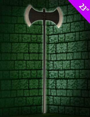 """Beheaded Medieval Executioner Double Sided Axe Halloween Prop Long 23"""" Chop"""