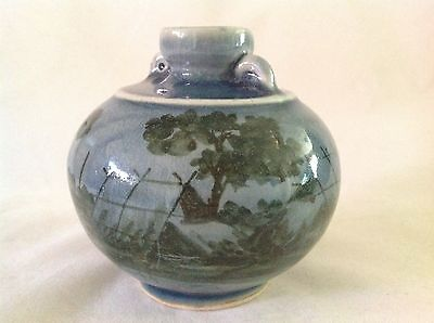 Celadon Siam Hand Made Pottery Vase - Village, Trees - Vintage 1978+