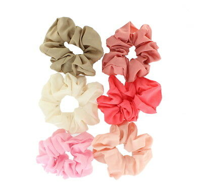 Ladies Pack of 6 Neutral Coloured Fabric Hair Scrunchies