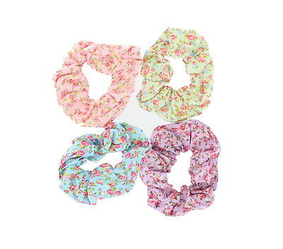 Pack of 4 Small Floral Rose Print Fabric Scrunchies