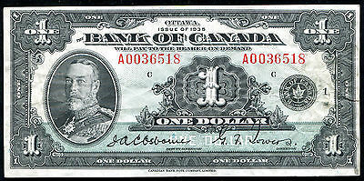 Bc-1 1935 $1 One Dollar Bank Of Canada Banknote Osborne / Towers
