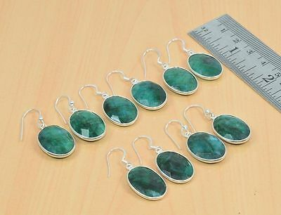 Wholesale 5Pc 925 Solid Sterling Silver Faceted Green Emerald Hook Earring Lot