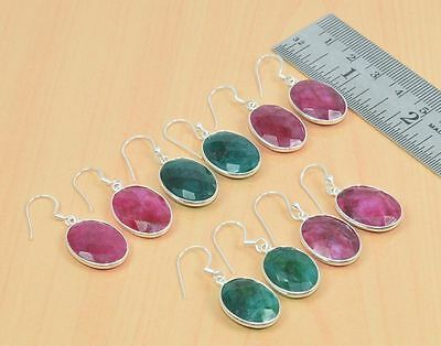 Wholesale 5Pc 925 Solid Sterling Silver Cut Red Ruby,emerald Hook Earring Lot