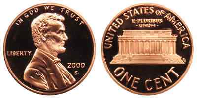 2000-S Proof Lincoln Memorial Cent Penny Deep Cameo , FREE SHIPPING!